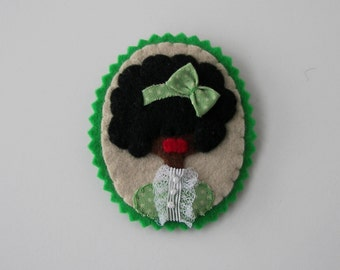 Miniature Cameo Black Woman Felt cameo brooch lace pin pendant Felted lady fabric Cameo Felt Brooch