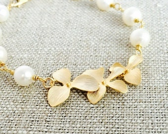 Cascading Gold Orchid Bracelet, White Freshwater Pearls, Wedding Jewelry, Gift Under 50