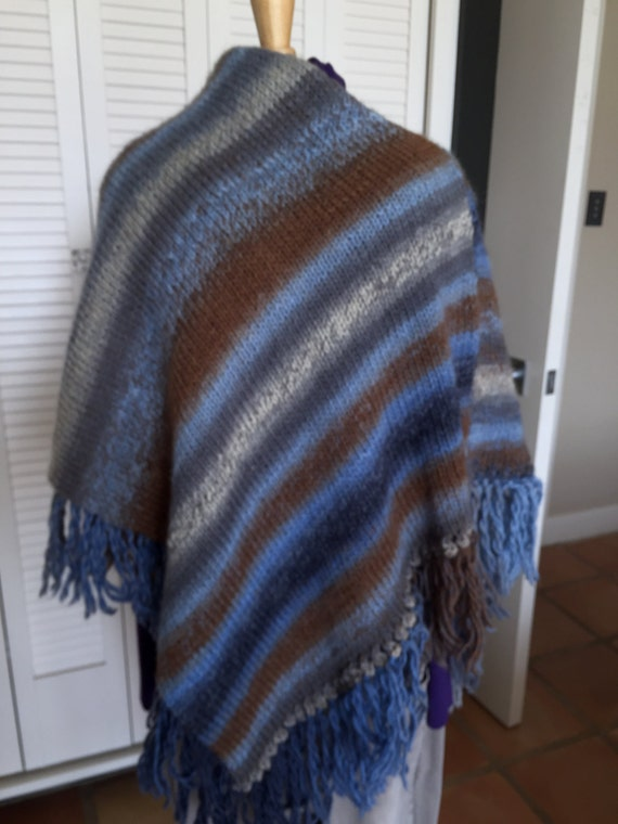 Cozy blue to brown to cream shaded poncho