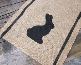 Burlap table runner, wool bunny applique