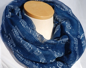 Music Infinity Scarf with blue background