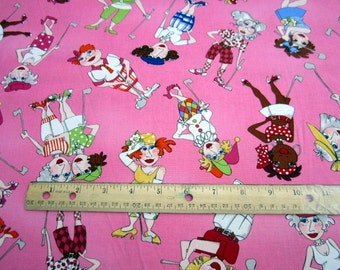 You Golf Girl Golfers Swingers Rosie Sky Premium Cotton fabric from Loralie Harris Designs