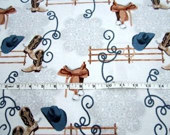 Round Up Fence Rail Denim (color) Cowboys Collection premium cotton fabric by Michael Miller