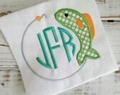 Fish String Hook Monogram Frame Applique Embroidery Design 4x4 5x7 6x10 8x12