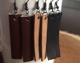Leather Dangle Earrings Leather Earrings HGTV Joanna Gaines inspired Earrings