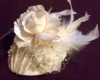 Bridal headpiece fascinator hat with birdcage veil, flowers and feathers, Custom Made Bespoke Couture