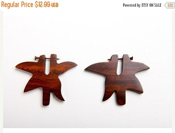 ON SALE Wooden Earrings Hoops with post