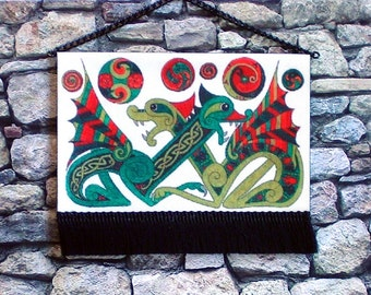 Celtic Dragons Tapestry, Medieval Dollhouse Miniature 1/12 scale, Hand Made