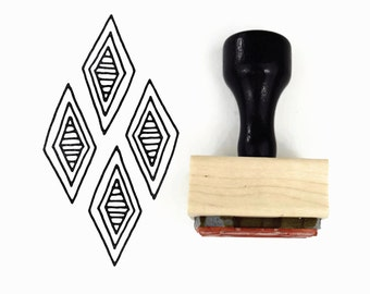 Rubber Stamp Diamond Pattern - DIY Hand Drawn Diamond Patterns - Wood Mounted Stamp with Handle
