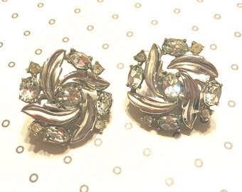 Vintage Crown Trifari Clear Rhinestone Earrings