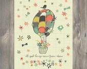 Scripture Art, Christian Art, HOT AIR BALLOON art illustration, art print - Bloom by Amylee Weeks home decor