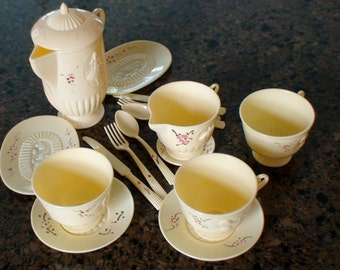 Plasco Tea Party Dishes, Cups, Saucers, Plates, Pitcher, Cream Pitcher, Sugar Bowl, Lid,  Knives, Forks, Spoons