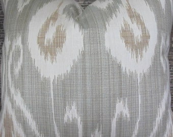 3BM Designer Pillow 18 x 18, 20 x 20, 22 x 22, 24 x 24 - Kravet Ikat Seafoam Green and Tan