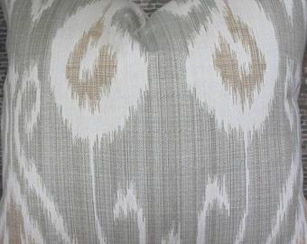 3BM Designer Pillow 18 x 18, 20 x 20, 22 x 22, 24 x 24 - Kravet Ikat Seafoam Green and Tan