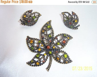 SALE Lovely Signed Avon Fall Colors Leaf Brooch and Clip on Earrings Set/Demi-Parure