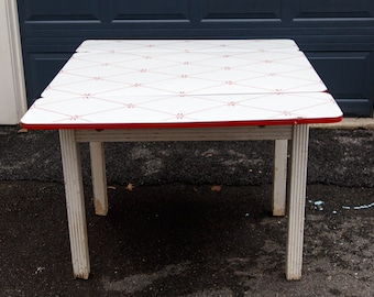Antique Porcelain Top Table With Drawer