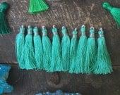 """Tassel Ten Pack in Minty Green, Art Silk Tassels from India, 2"""", Mala Tassels, Yoga Jewelry Making, Craft Supplies, Fall Fashion Trend"""