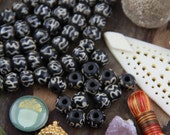 Black & White Om Bone Rondelle : 8.5x7mm, Large Hole Aum Handmade Bone Beads, Bohemian, Yoga Mala Jewelry Making Supplies, Boho,  29 pcs