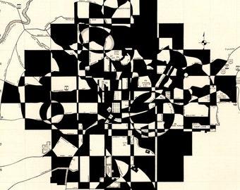 Atlanta Print: archival giclee reproduction of original city map art black beige geometric modern art