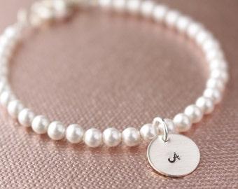 Swarovski Pearl and Sterling Silver Initial Tag Bracelet- Bride Bridesmaids Bridal Party Bride's Gift Wedding Birthday, BP-220