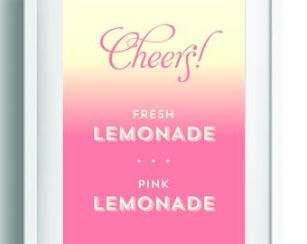 Printable Lemonade Sign ~ Summer Party Decor ~ Wedding Reception Sign  ~  Reception Decor ~ Party Sign ~ Bridal Shower ~ Wedding Bar