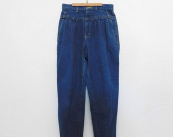 1980s Lee Jeans Vintage 80s Pleated High Rise Blue Jeans - 28W x 26L