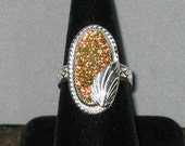 Dichroic Glass  in Sterling Silver Ring, Size 9 1/2