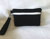 iPhone Dark Blue Denim large double zipper pouch wristlet-New Item
