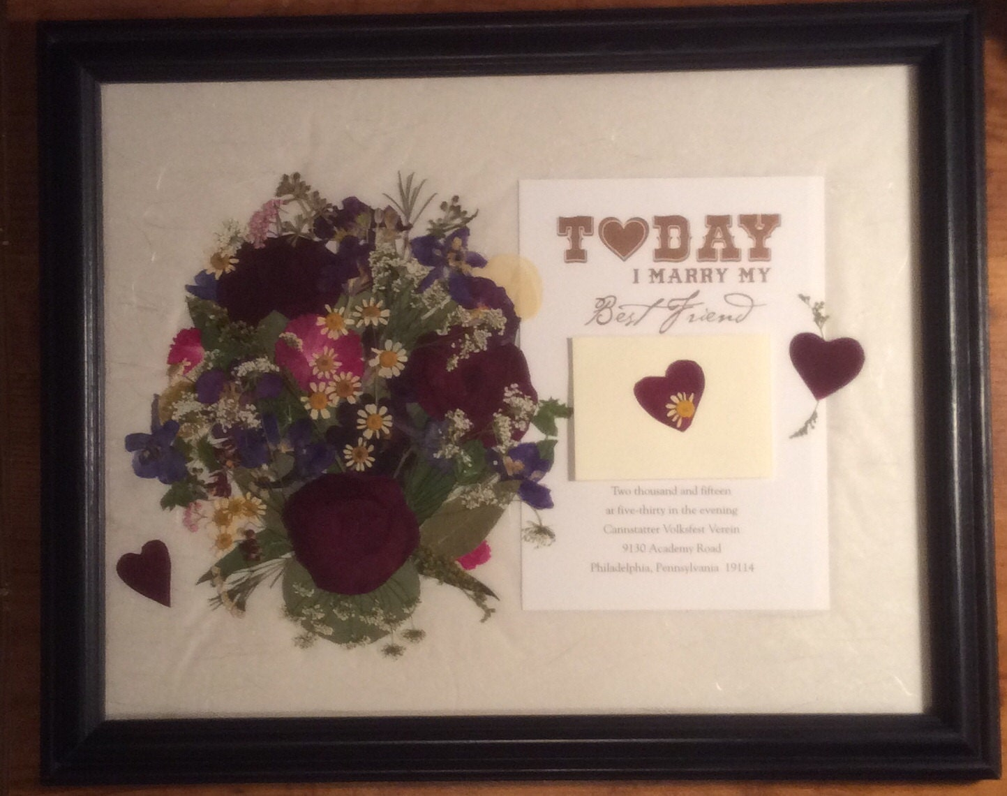 Framed Wedding Invitation Pressed Flower Framed Wedding Keepsake ...