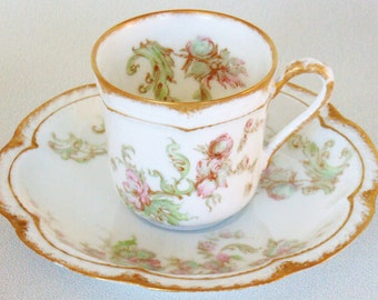 Very Delicate Very Old Haviland Limoges Demi Tasse Cup & Saucer France VERY NICE CONDITION