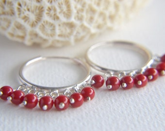 sterling silver and red coral hoop earrings