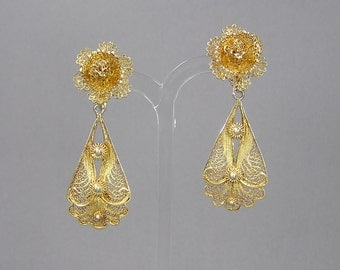 Topazio Filigree Earrings, Vermeil, Gilt Sterling Silver, Screw back Earrings, Vintage Jewelry