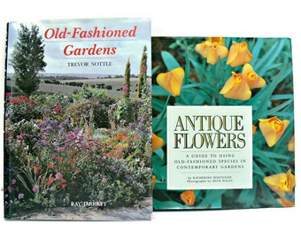"""Vintage Garden Books - """"Antique Flowers"""" and """"Old-Fashioned Gardens"""" - Hardcover Set"""