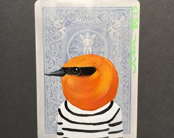 Olive Warbler on a playing cards. Original Acrylic Paintings. 2013