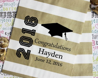 150 Personalized Graduation Party Favor Bags, Candy Bags, Popcorn Bags, Cookie Bags, Graduation Favor Bags with Name and Date