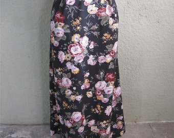 70s Long Black Floral Skirt Adelaar Maxi Skirt