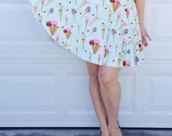 Ice Cream Skirt -  Mini Skirt - Novelty Print Skirt - Retro Full Skirt ... Midi Skirt,  Mommy and Ne, VLV, Bohemian, Festival, Sorority