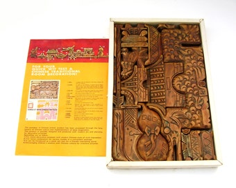 Vintage Chinese Wood Carving Collection Mid century Asian Art Wooden Decorative Sculpture 15 Piece Set Puzzle Feng Shui  Cultural Symbols