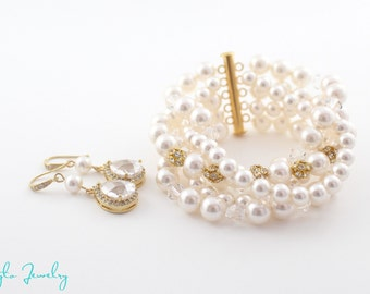 Pearl Bridal Jewelry Set, Pearl Bracelet and Earring Set, Wedding Jewelry Gold, Pearl Statement Jewelry, Gold Wedding Jewelry, Pearl Jewelry