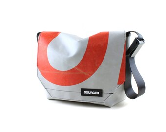Messenger Bag made from Upcycled Truck Tarp, Laptop Bag, Courier Bag, Eco Friendly and Handmade (K02)