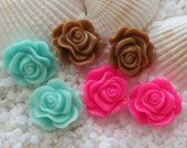 Resin Rose Flower Cabochon - 12mm - 6 pcs - CHOICE OF COLOR