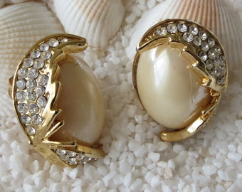 Vintage Rhinestone and Pearl Cabochon Clip Earrings - Gold Tone - 1 Pair