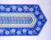 Blue and gold accented floral quilted table runner, Ready to ship