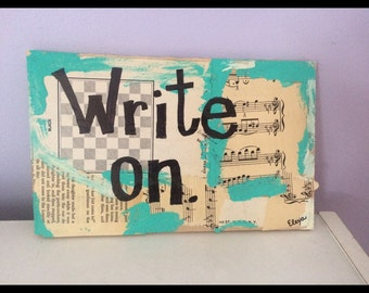 Book art painting write author writer wall art vintage quote original mixed media collage print