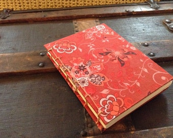 SALE - Handbound Coptic Stitch Journal with Paisley Design Cover