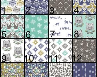 Crib Blanket, Crib Bedding, Crib Quilt, Baby Bedding, Stripe Baby Quilt, Stripe Baby Blanket, woodland,gold, blue, teal, fox, goat, gray