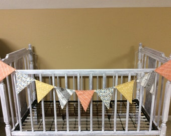 Woodland fabric bunting, banner flags, ready to ship, orange, gray, gold, blue, owl, feathers, tree