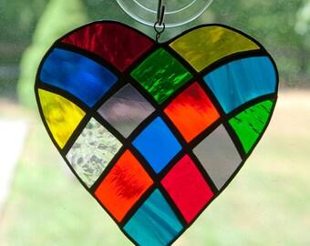 Stained glass rainbow heart - patchwork, random arrangement