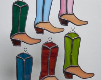 Stained Glass boot ornaments