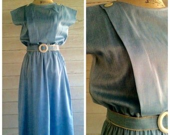 Vintage Blue Dress - 80s Blue Sleeveless Dress with Belt